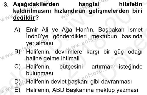 Atatürk İlkeleri Ve İnkılap Tarihi 2 Dersi 2018 - 2019 Yılı (Final) Dönem Sonu Sınav Soruları 3. Soru