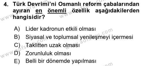 Atatürk İlkeleri Ve İnkılap Tarihi 2 Dersi 2018 - 2019 Yılı (Final) Dönem Sonu Sınav Soruları 4. Soru
