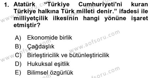 Atatürk İlkeleri Ve İnkılap Tarihi 2 Dersi 2018 - 2019 Yılı Yaz Okulu Sınav Soruları 1. Soru