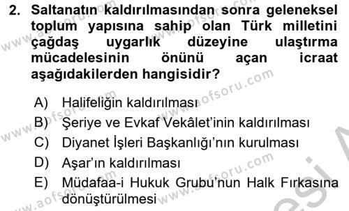 Atatürk İlkeleri Ve İnkılap Tarihi 2 Dersi 2018 - 2019 Yılı Yaz Okulu Sınav Soruları 2. Soru