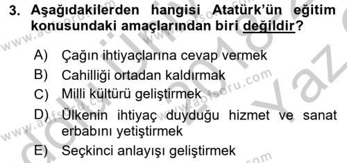 Atatürk İlkeleri Ve İnkılap Tarihi 2 Dersi 2018 - 2019 Yılı Yaz Okulu Sınav Soruları 3. Soru