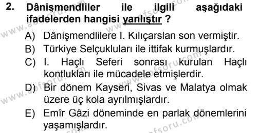 Orta Çağ ve Yeni Çağ Türk Devletleri Tarihi Dersi 2012 - 2013 Yılı (Final) Dönem Sonu Sınav Soruları 2. Soru