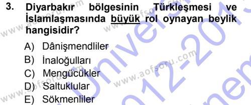 Orta Çağ ve Yeni Çağ Türk Devletleri Tarihi Dersi 2012 - 2013 Yılı (Final) Dönem Sonu Sınav Soruları 3. Soru