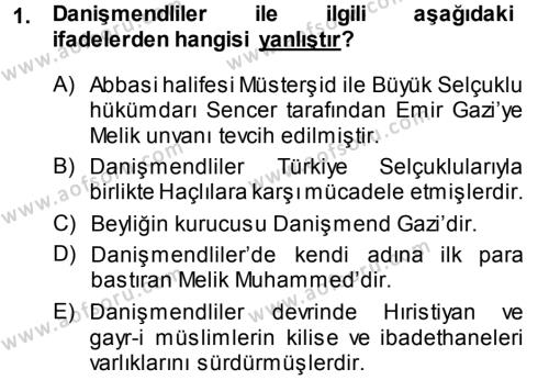 Orta Çağ ve Yeni Çağ Türk Devletleri Tarihi Dersi 2013 - 2014 Yılı Ara Sınavı 1. Soru