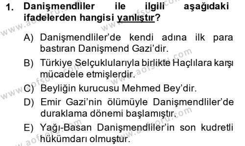 Orta Çağ ve Yeni Çağ Türk Devletleri Tarihi Dersi 2014 - 2015 Yılı Ara Sınavı 1. Soru