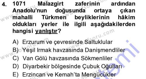 Orta Çağ ve Yeni Çağ Türk Devletleri Tarihi Dersi 2014 - 2015 Yılı Ara Sınavı 4. Soru