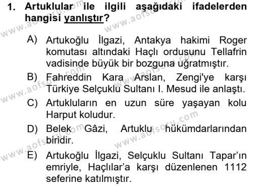 Orta Çağ ve Yeni Çağ Türk Devletleri Tarihi Dersi 2015 - 2016 Yılı Ara Sınavı 1. Soru