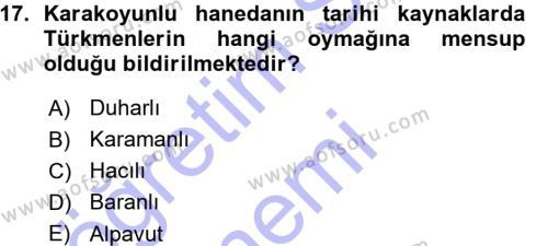 Orta Çağ ve Yeni Çağ Türk Devletleri Tarihi Dersi 2015 - 2016 Yılı Ara Sınavı 17. Soru 1. Soru