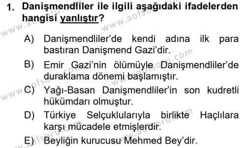 Orta Çağ ve Yeni Çağ Türk Devletleri Tarihi Dersi 2015 - 2016 Yılı Dönem Sonu Sınavı 1. Soru