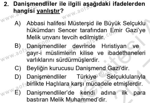 Orta Çağ ve Yeni Çağ Türk Devletleri Tarihi Dersi 2016 - 2017 Yılı Ara Sınavı 2. Soru