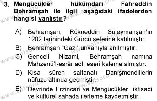 Orta Çağ ve Yeni Çağ Türk Devletleri Tarihi Dersi 2016 - 2017 Yılı Ara Sınavı 3. Soru