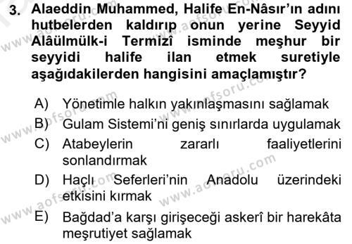 Orta Çağ ve Yeni Çağ Türk Devletleri Tarihi Dersi 2016 - 2017 Yılı Dönem Sonu Sınavı 3. Soru