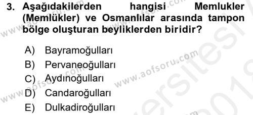 Orta Çağ ve Yeni Çağ Türk Devletleri Tarihi Dersi 2017 - 2018 Yılı (Final) Dönem Sonu Sınav Soruları 3. Soru