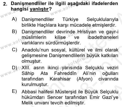 Orta Çağ ve Yeni Çağ Türk Devletleri Tarihi Dersi 2018 - 2019 Yılı (Vize) Ara Sınav Soruları 2. Soru