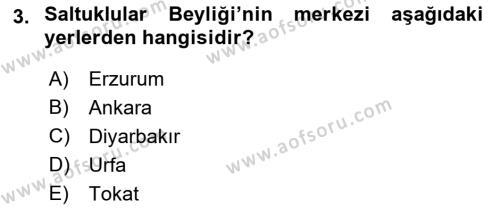 Orta Çağ ve Yeni Çağ Türk Devletleri Tarihi Dersi 2018 - 2019 Yılı (Vize) Ara Sınav Soruları 3. Soru