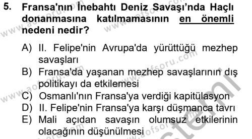 Tarih Bölümü 4. Yarıyıl Osmanlı Tarihi (1566-1789) Dersi 2013 Yılı Bahar Dönemi Ara Sınavı 5. Soru