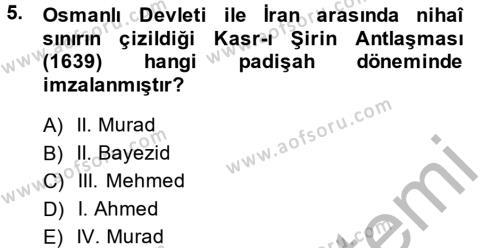 Tarih Bölümü 4. Yarıyıl Osmanlı Tarihi (1566-1789) Dersi 2014 Yılı Bahar Dönemi Dönem Sonu Sınavı 5. Soru