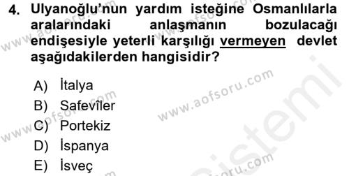Tarih Bölümü 4. Yarıyıl Osmanlı Tarihi (1566-1789) Dersi 2016 Yılı Bahar Dönemi Ara Sınavı 4. Soru