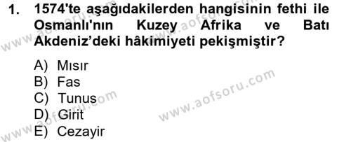 Osmanlı Tarihi (1566-1789) Dersi 2012 - 2013 Yılı Ara Sınavı 1. Soru