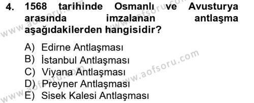 Osmanlı Tarihi (1566-1789) Dersi 2012 - 2013 Yılı Ara Sınavı 4. Soru