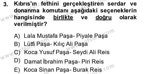 Osmanlı Tarihi (1566-1789) Dersi 2013 - 2014 Yılı Ara Sınavı 3. Soru