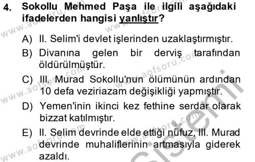 Osmanlı Tarihi (1566-1789) Dersi 2013 - 2014 Yılı (Vize) Ara Sınav Soruları 4. Soru