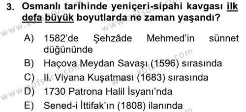 Osmanlı Tarihi (1566-1789) Dersi 2015 - 2016 Yılı Ara Sınavı 3. Soru