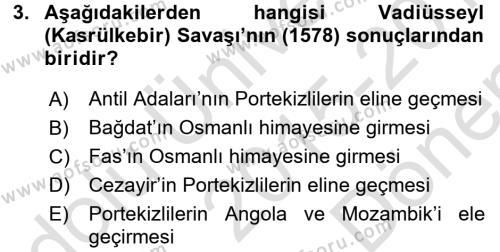Osmanlı Tarihi (1566-1789) Dersi 2015 - 2016 Yılı (Final) Dönem Sonu Sınav Soruları 3. Soru