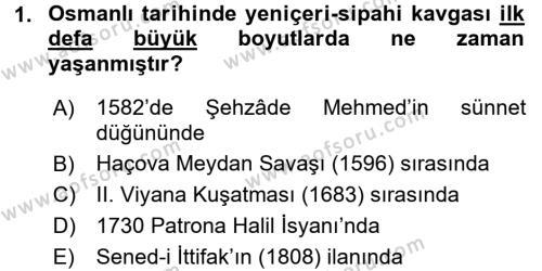 Osmanlı Tarihi (1566-1789) Dersi 2016 - 2017 Yılı Dönem Sonu Sınavı 1. Soru