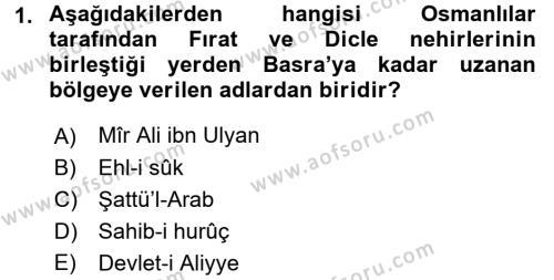 Osmanlı Tarihi (1566-1789) Dersi 2017 - 2018 Yılı (Vize) Ara Sınavı 1. Soru