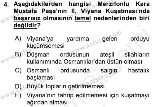Osmanlı Tarihi (1566-1789) Dersi 2017 - 2018 Yılı Dönem Sonu Sınavı 4. Soru