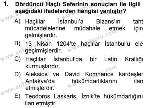 Türkiye Selçuklu Tarihi Dersi 2012 - 2013 Yılı Ara Sınavı 1. Soru