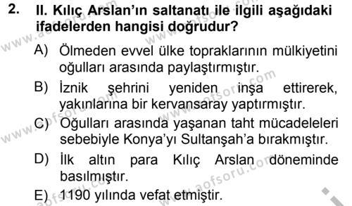 Türkiye Selçuklu Tarihi Dersi 2012 - 2013 Yılı Ara Sınavı 2. Soru