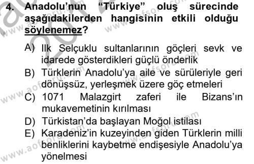 Türkiye Selçuklu Tarihi Dersi 2012 - 2013 Yılı Ara Sınavı 4. Soru