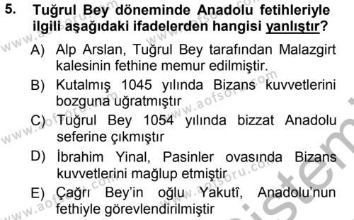 Tarih Bölümü 3. Yarıyıl Türkiye Selçuklu Tarihi Dersi 2013 Yılı Güz Dönemi Ara Sınavı 5. Soru