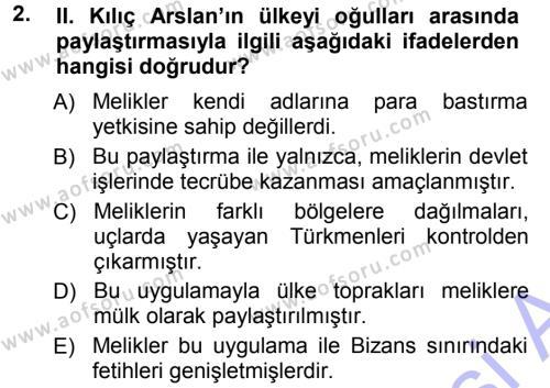 Türkiye Selçuklu Tarihi Dersi 2012 - 2013 Yılı Dönem Sonu Sınavı 2. Soru