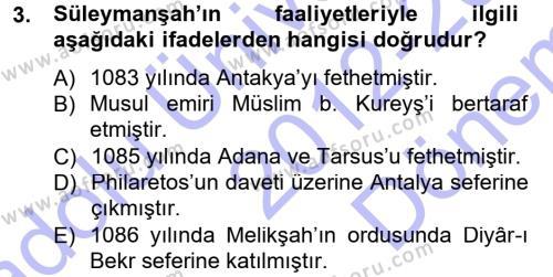 Türkiye Selçuklu Tarihi Dersi 2012 - 2013 Yılı Dönem Sonu Sınavı 3. Soru