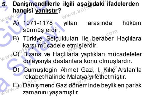 Tarih Bölümü 3. Yarıyıl Türkiye Selçuklu Tarihi Dersi 2014 Yılı Güz Dönemi Ara Sınavı 5. Soru