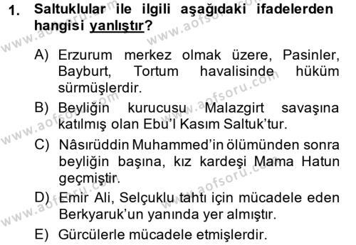 Türkiye Selçuklu Tarihi Dersi 2013 - 2014 Yılı Dönem Sonu Sınavı 1. Soru
