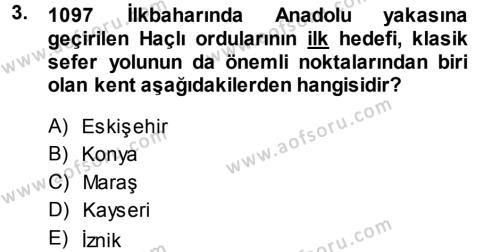 Türkiye Selçuklu Tarihi Dersi 2013 - 2014 Yılı Dönem Sonu Sınavı 3. Soru