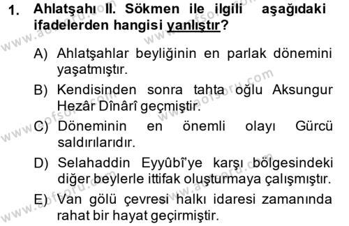 Türkiye Selçuklu Tarihi Dersi 2014 - 2015 Yılı Ara Sınavı 1. Soru