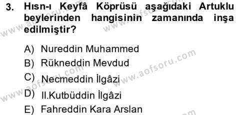 Türkiye Selçuklu Tarihi Dersi 2014 - 2015 Yılı Ara Sınavı 3. Soru