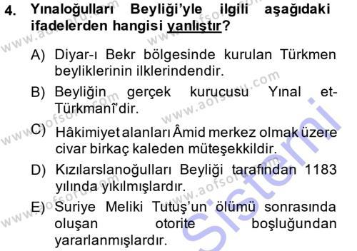 Türkiye Selçuklu Tarihi Dersi 2014 - 2015 Yılı Ara Sınavı 4. Soru