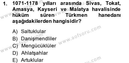 Tarih Bölümü 3. Yarıyıl Türkiye Selçuklu Tarihi Dersi 2015 Yılı Güz Dönemi Dönem Sonu Sınavı 1. Soru
