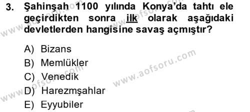 Tarih Bölümü 3. Yarıyıl Türkiye Selçuklu Tarihi Dersi 2015 Yılı Güz Dönemi Dönem Sonu Sınavı 3. Soru