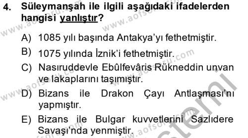 Türkiye Selçuklu Tarihi Dersi 2014 - 2015 Yılı (Final) Dönem Sonu Sınav Soruları 4. Soru