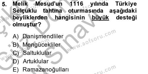 Tarih Bölümü 3. Yarıyıl Türkiye Selçuklu Tarihi Dersi 2015 Yılı Güz Dönemi Dönem Sonu Sınavı 5. Soru