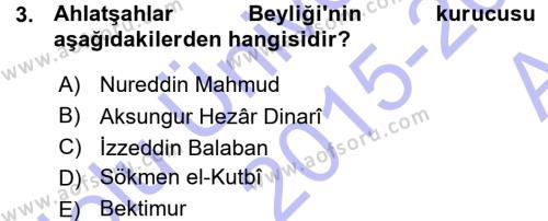 Türkiye Selçuklu Tarihi Dersi 2015 - 2016 Yılı Ara Sınavı 3. Soru