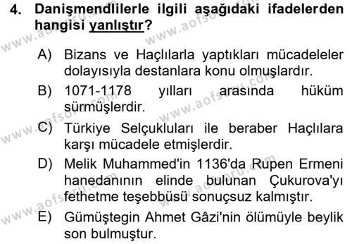 Tarih Bölümü 3. Yarıyıl Türkiye Selçuklu Tarihi Dersi 2016 Yılı Güz Dönemi Ara Sınavı 4. Soru