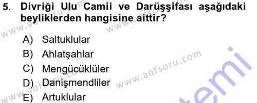 Tarih Bölümü 3. Yarıyıl Türkiye Selçuklu Tarihi Dersi 2016 Yılı Güz Dönemi Ara Sınavı 5. Soru
